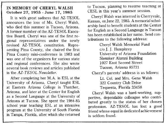 Cheryl Walsh obit